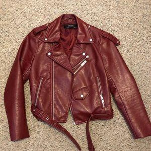 Burgundy red leather biker jacket